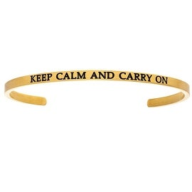 "Intuitions ""Keep Calm and Carry On"" Yellow Stainless Steel Cuff Bangle Bracelet"