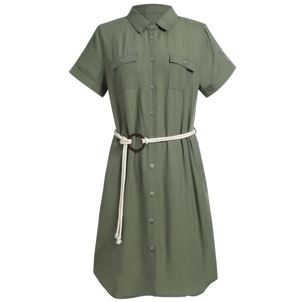 Women's Plus Size Summer Short Sleeve Midi Dress Tencel Shirt Dress. Opens flyout.