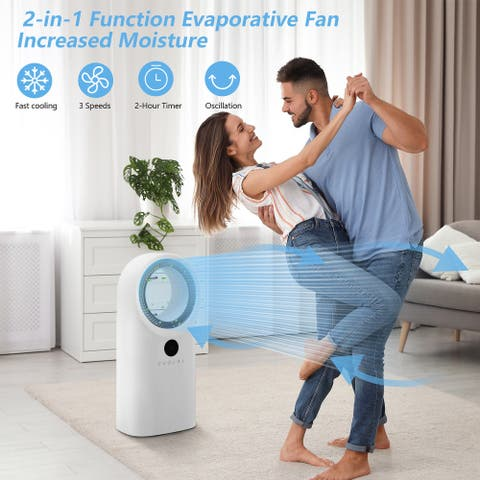 """31"""" Portable Bladeless Fan Air Cooler with Digital Display and Remote"""