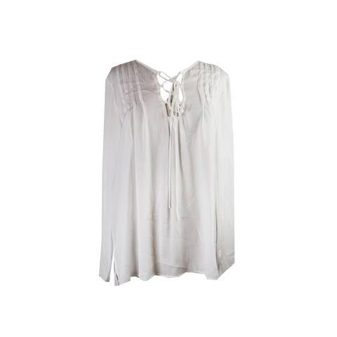 Studio M White Long-Sleeve Satin Tie-Front Blouse M