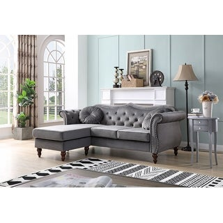Link to Hollywood Velvet Sofa with Reversible Chaise Similar Items in Sofas & Couches