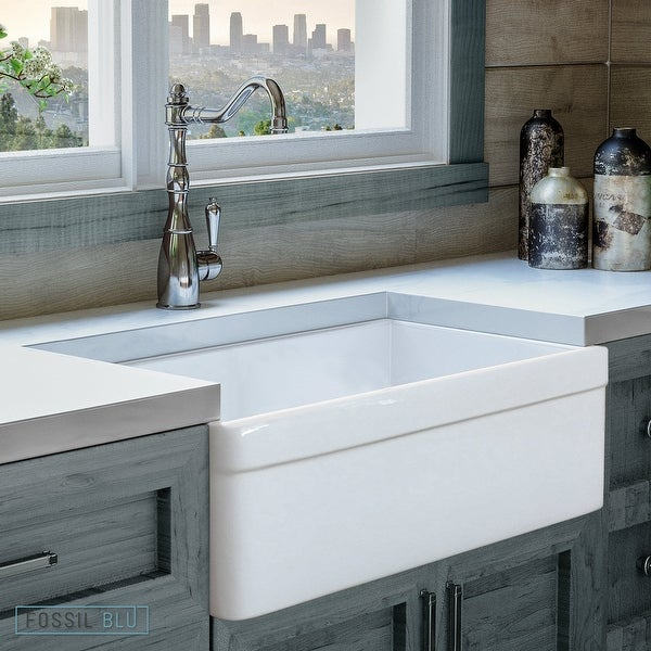Luxury 30 Inch Modern Fireclay Farmhouse Kitchen Sink In White Single Bowl With Belted Front