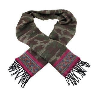 Brown / Green Camouflage Print Cashmere Scarf Pink Trim