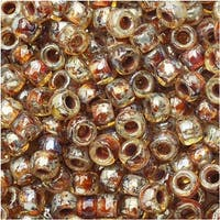 Czech Glass Matubo, 7/0 Seed Beads, 7.5 Gram Tube, Crystal Picasso