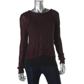 Rachel Rachel Roy Womens Cable Knit Marled Pullover Sweater - L