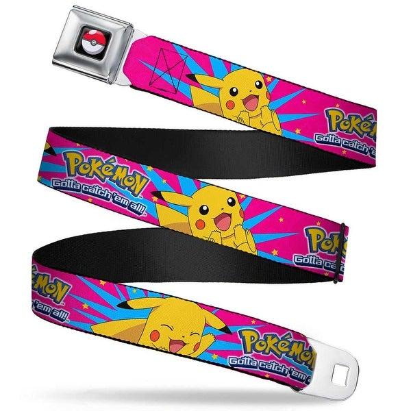 Pok Ball Full Color Black Pokmon Logo Pikachu Happy Poses Starburst Pinks Seatbelt Belt