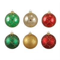 "6ct Glittered Scallop Design Shatterproof Christmas Ball Ornaments 3.25"" (80mm)"