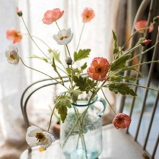 "RusticReach Silk Common Poppy Flower Stem in Pink or White 22"" Tall"