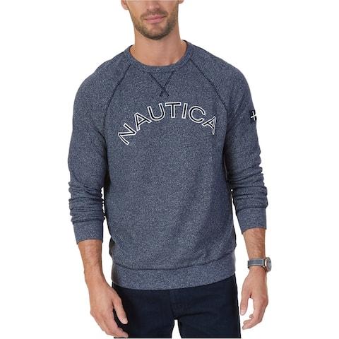 Nautica Mens Signature Logo Sweatshirt, Blue, Small