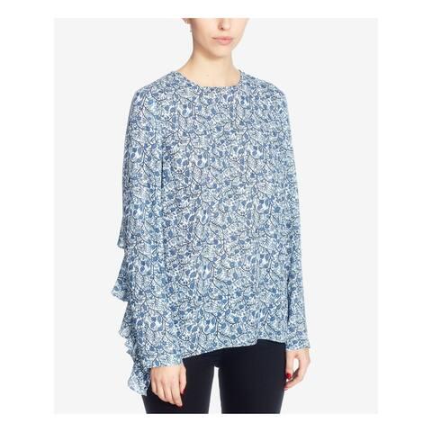 CATHERINE MALANDRINO Womens Light Blue Ruffled Printed Long Sleeve Crew Neck Top Size: M
