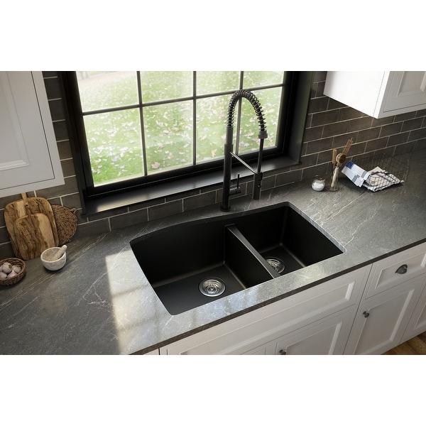 Karran Undermount Quartz 60/40 Double Bowl Kitchen Sink. Opens flyout.