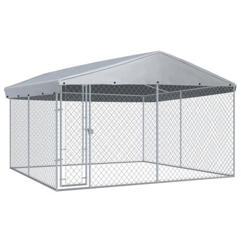 """vidaXL Outdoor Dog Kennel with Roof 150.4""""x150.4""""x94.5"""""""