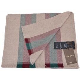 New Gucci Men's 387574 100% Wool Beige Red Green Stripe Scarf Muffler