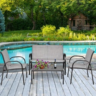 Link to Costway 4 PCS Patio Furniture Set Sofa Coffee Table Steel Frame Garden Similar Items in Outdoor Dining Sets