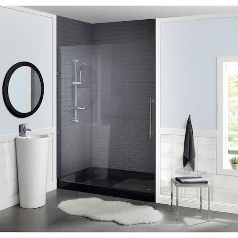 "Voltaire 60"" x 36"" Acrylic Black, Single-Threshold, Right Drain, Shower Base"