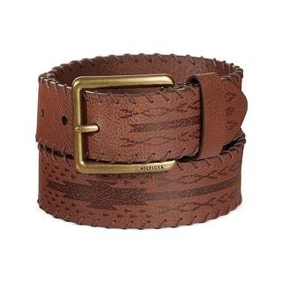 Tommy Hilfiger Mens Laced-Edge Leather Cowboy Belt Saddle Brown 34
