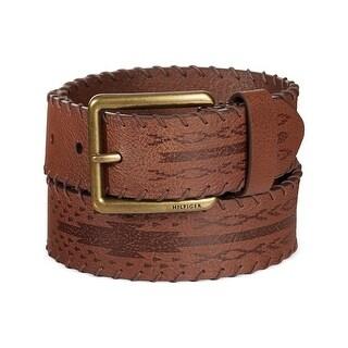 Tommy Hilfiger Mens Laced-Edge Leather Cowboy Belt Saddle Brown 38