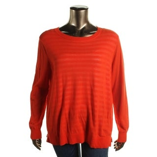 MICHAEL Michael Kors Womens Plus Pullover Sweater Knit Ribbed Trim