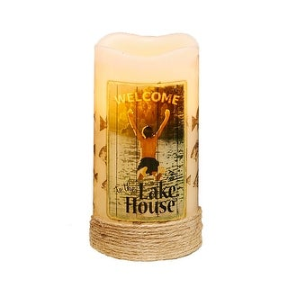 """Pack of 4 """"Welcome to the Lake House"""" LED Lighted Wax Flameless Pillar Candles with Timer 6"""""""