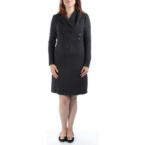 Womens Gray Long Sleeve Above The Knee Sheath Casual Dress Size: S