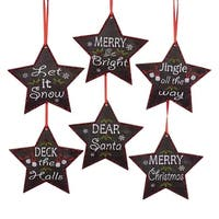 """Pack of 24 Red, White and Black Chalk Board Inspired Stars w/ Phrases Christmas Ornaments 4.5"""""""
