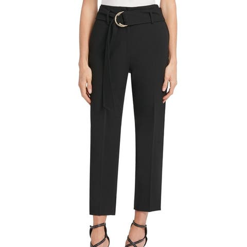 DKNY Womens Dress Pants Black Size 6 Slim Ankle Stretch Belted Trousers