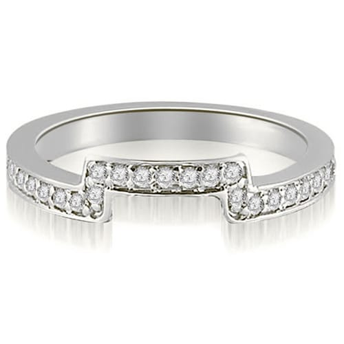 0.25 cttw. 14K White Gold Round Cut Diamond Curve Wedding Band,HI,SI1-2