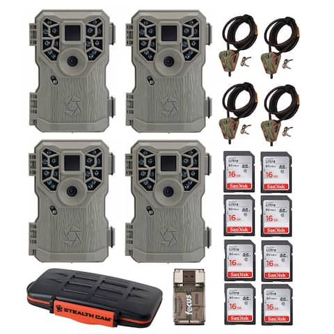 Stealth Cam 10MP Trail Game Camera (4) with Accessory Bundle