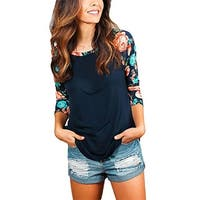 Women's Casual 3 4 Sleeve Floral Print Crew Neck Blouses Tops and Shirts