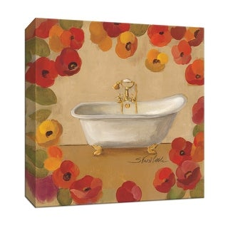 """PTM Images 9-152016  PTM Canvas Collection 12"""" x 12"""" - """"Floral Bath I"""" Giclee Tubs Art Print on Canvas"""