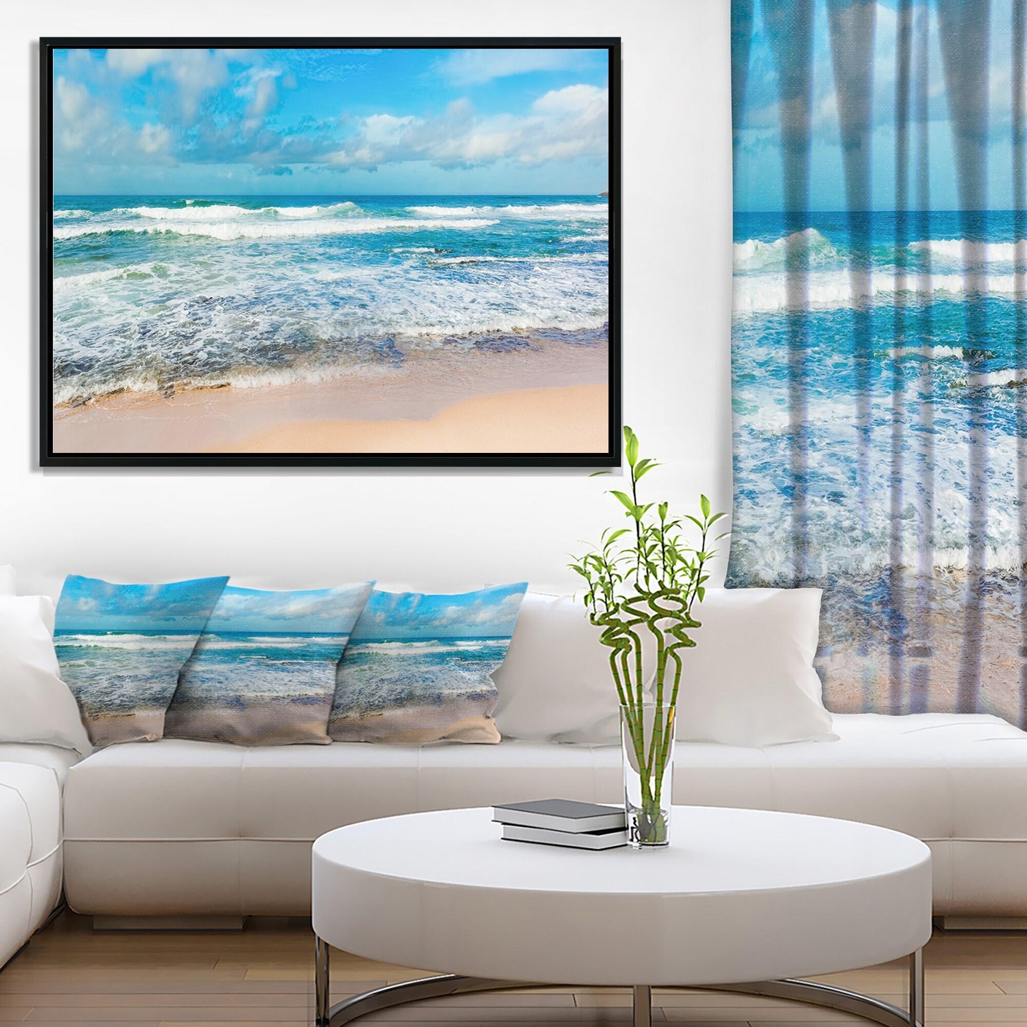 Designart Indian Ocean Panoramic View Extra Large Seashore Framed Canvas Art Overstock 18957623