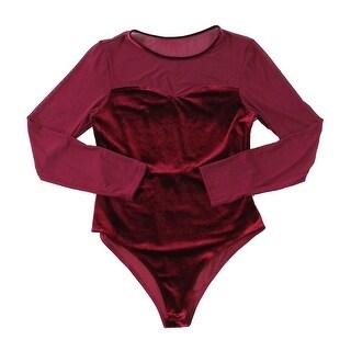 Hyfve Red Sheer Mesh Velvet Women's Small S One-Piece Body Suits