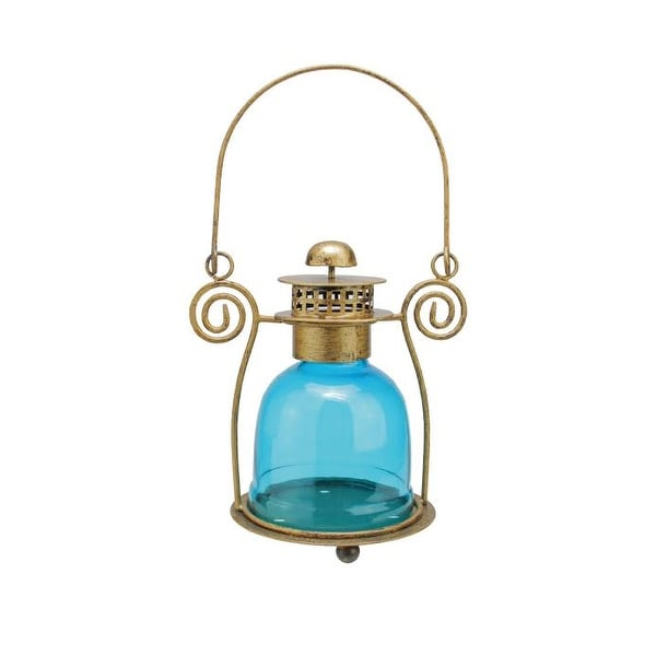 "7.5"" Decorative Blue Glass Bell Tea Light Candle Holder Lantern"