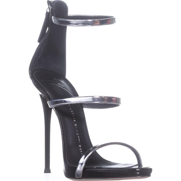 4a8896ff29d Shop Giuseppe Zanotti Harmony Triple Strap Sandals, Black/Silver ...