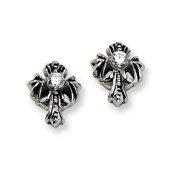Chisel Stainless Steel Cross with CZ Antique Post Earrings