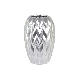 Urban Trends Ceramic Round Vase with Round Lip, Embossed Wave Design and Rounded Bottom Matte Finish Silver