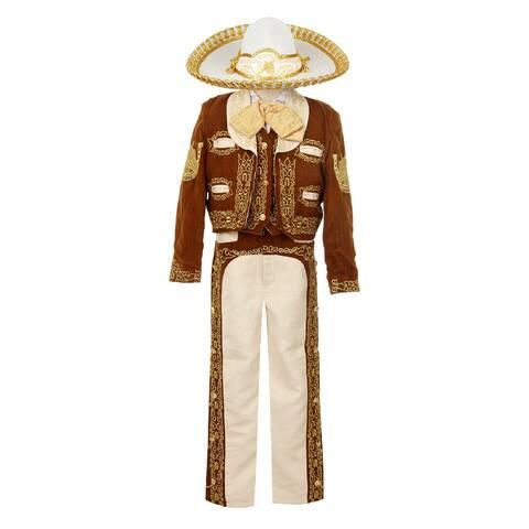 Rain Kids Boys Brown Gold Horse Embroidery Elegant 6 Pc Charro Suit