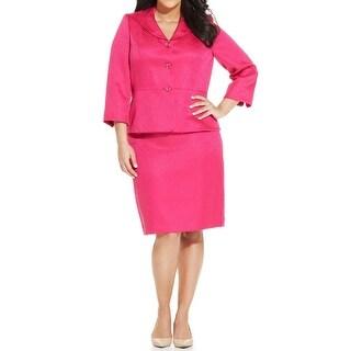 Le Suit NEW Pink Jacquard Women's Size 20W Plus Skirt Suit Set