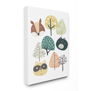Stupell Industries Forest Animal Trees Faces Cartoon Family Design Canvas Wall Art