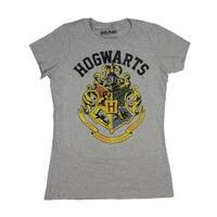 Harry Potter Shirt Distressed Hogwarts Crest Juniors Heather Tee T-Shirt