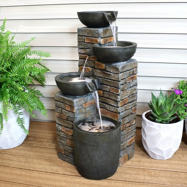 Sunnydaze Staggered Bowls Tiered Outdoor Water Fountain with LEDs - 34-Inch
