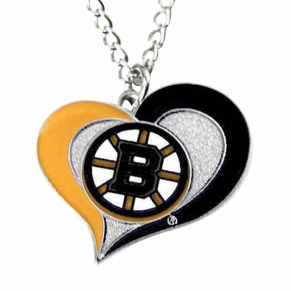 online store 9c49d 63a92 NHL Boston Bruins Swirl Heart Necklace
