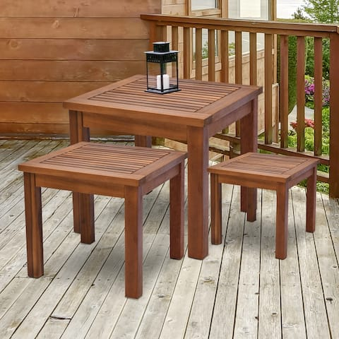 Outsunny 3 Piece Outdoor Side Nesting Table Patio Set with Acacia Wood Build & Multi-Functional Design