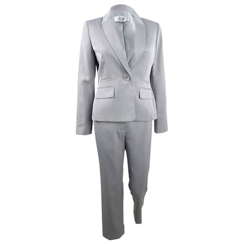 Le Suit Women's One-Button Pantsuit (14, Silver) - Silver - 14