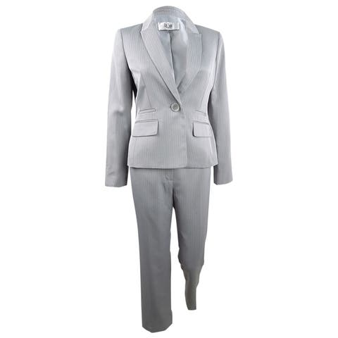 Le Suit Women's One-Button Pantsuit (6, Silver) - Silver - 6