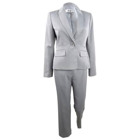 Le Suit Women's Plus Size One-Button Pantsuit - Silver - 14W