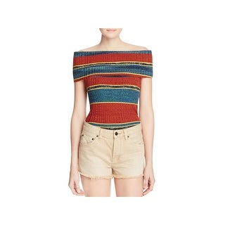 Free People Womens Carly Pullover Sweater Striped Ribbed
