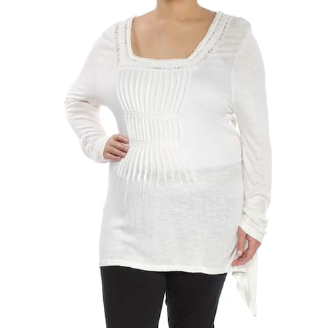 AMERICAN RAG Womens Ivory Lace Long Sleeve Square Neck Top Plus Size: 2X
