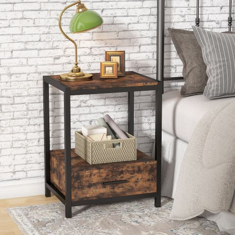 Tribesigns Industrial Nightstands with drawers and open shelf,End Side Table with Storage Shelf