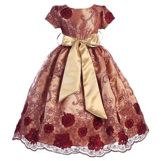 Little Girls Burgundy Satin Lace Floral Embroidery Special Occasion Dress 2-6